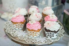 Cupcakes on plate on buffet table. Colorful beautiful cupcakes with cream Royalty Free Stock Images