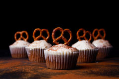Cupcakes with pretzels