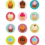 Cupcakes printable sheet in circles Royalty Free Stock Image