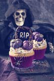 Cupcakes with pumpkins. For Halloween party royalty free stock photography