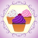 Cupcakes in purple frame. Vector illustration. Bright Cupcakes Set in fancy frame Royalty Free Stock Image