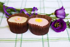 Cupcakes with purple spring flowers Stock Photography