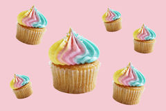 Cupcakes with rainbow buttercream Stock Photo