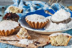 Cupcakes with raisins and sugar powder. Soft focus background Stock Photos