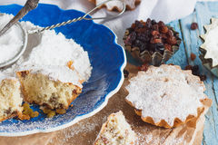 Cupcakes with raisins and sugar powder Stock Image