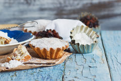 Cupcakes with raisins and sugar powder Royalty Free Stock Photo