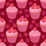 Cupcakes with raspberries seamless pattern Royalty Free Stock Image