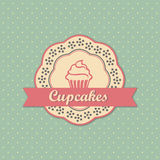 Cupcakes retro style label. On retro polka dots background vector Royalty Free Stock Photography