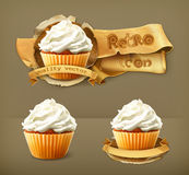 Cupcakes retro vector icons Stock Image