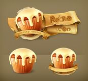 Cupcakes, retro vector icons Royalty Free Stock Images