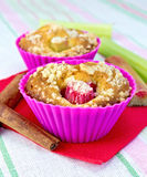 Cupcakes with rhubarb on a napkin Royalty Free Stock Images