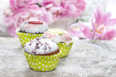 Cupcakes on rustic wooden table Royalty Free Stock Image