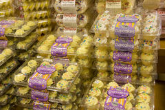 Cupcakes for sale in supermarket stock images