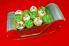 Cupcakes in Santa's Sleigh Stock Image