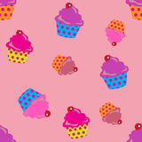 Cupcakes seamless. Cute pink cupcakes seamless background Royalty Free Stock Images
