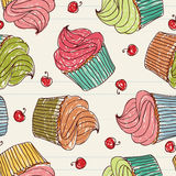 Cupcakes seamless pattern Stock Images
