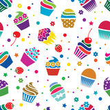Vector cupcakes, seamless pattern Royalty Free Stock Photo