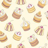 Cupcakes seamless pattern. The pattern can be repeated or tiled without any visible seams Stock Photo
