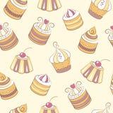 Cupcakes seamless pattern Stock Photo