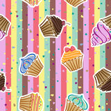 Cupcakes. Seamless pattern with cupcakes in the vector Stock Image