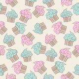 Cupcakes seamless pattern.  Vector design Royalty Free Stock Photos