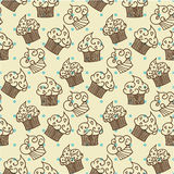 Cupcakes seamless pattern. Vector design Royalty Free Stock Photo