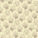 Cupcakes seamless pattern. Vector design Stock Photography