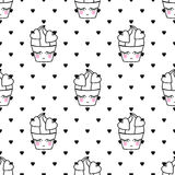 Cupcakes seamless vector pattern. Cute baby shower background with smiling cupcake. Royalty Free Stock Photos