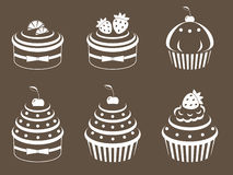 Cupcakes set vector illustration