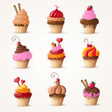 Cupcakes set Royalty Free Stock Images