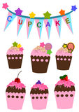 Cupcakes. Set of  cute cupcakes colorful vector Royalty Free Stock Images