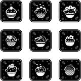Cupcakes set icons Royalty Free Stock Photography