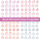 Cupcakes. Set of 100  icons of cupcakes Royalty Free Stock Image