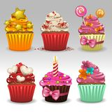 Cupcakes set. Illustration of cupcakes set icons Stock Photography