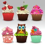 Cupcakes set 2. Illustration of cupcakes set icons Royalty Free Stock Photography