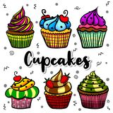 Cupcakes set illustrations stock image