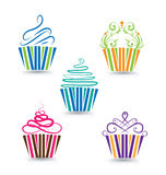 Cupcakes set Stock Photo