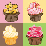 Cupcakes Set. Vector Illustration. Stock Images