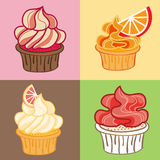 Cupcakes Set. Vector Illustration. Royalty Free Stock Image