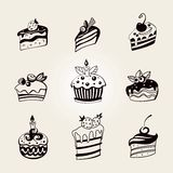 Cupcakes set. vector Royalty Free Stock Images