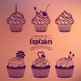 Cupcakes Silhouette Set Stock Photos