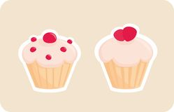 Vector cupcakes silhouettes with red strawberry on. Sweet retro cupcakes silhouettes with red strawberry on top isolated on beige background. I love sweets! Stock Photos