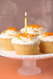 Cupcakes With Single Candle. Comport of cupcakes with orange zest, one cake with lit candle Stock Photography