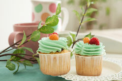 Cupcakes. Small cake designed for human consumption by one person royalty free stock photos