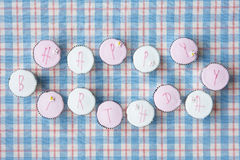 Cupcakes spell out happy birthday Stock Photos