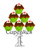 Cupcakes stack. Cute party cupcakes stack over white Royalty Free Stock Photography