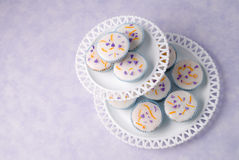 Cupcakes On Stand. Pretty cupcakes on two tier glass stand Royalty Free Stock Photos