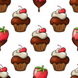 Cupcakes and strawberry seamless pattern. Seamless pattern of cupcakes and strawberry in chocolate icons. Colorful sketch style for decoration. Vector Stock Images