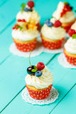 Cupcakes with summer berries Stock Image