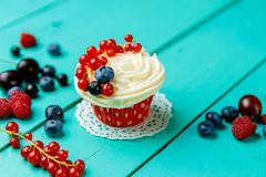 Cupcakes with summer berries Royalty Free Stock Photography
